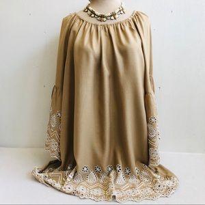 Boho Embroidered Eyelet Trim Tunic Dress Top